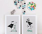 Nursery wall art, nursery poster, nursery print, monochrome, black and white nursery poster, superhero, giraffe, modern nursery, boys room