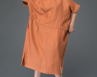 Casual linen dress, sienna dress, plus size dress, womens dress, drawstring dress, yellow maxi dress, summer dress, midi dress C922