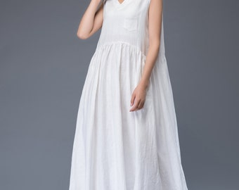 White linen dress loose dress maxi dress  C946
