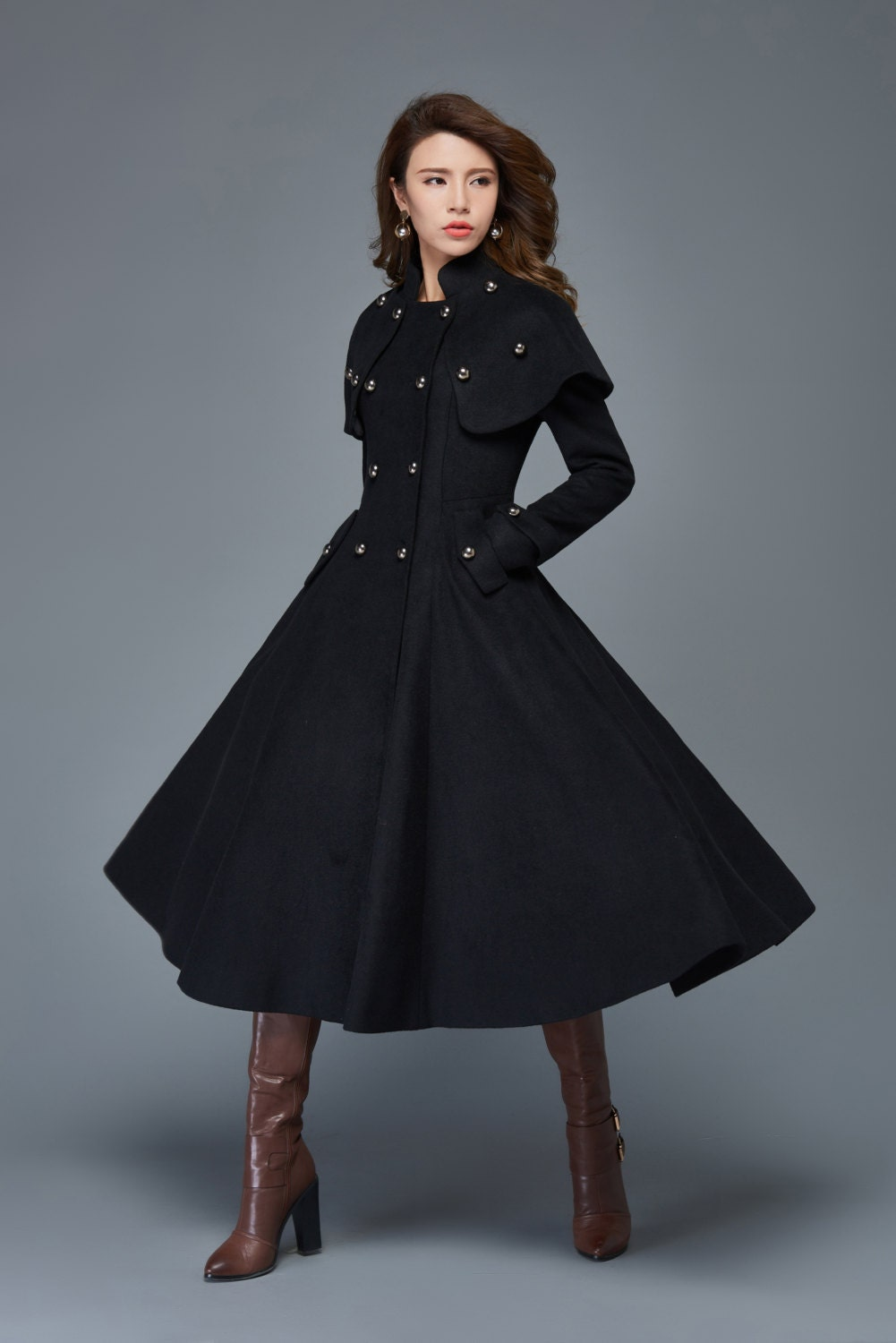 Wool Princess Coat Long Fit & Flare Double-Breasted Tailored
