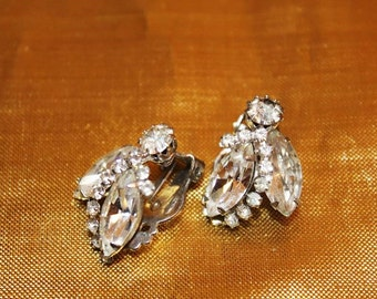 WEISS Couture Phenomenal Vintage Chaton Navette Pave RHINESTONE Earrings ED8
