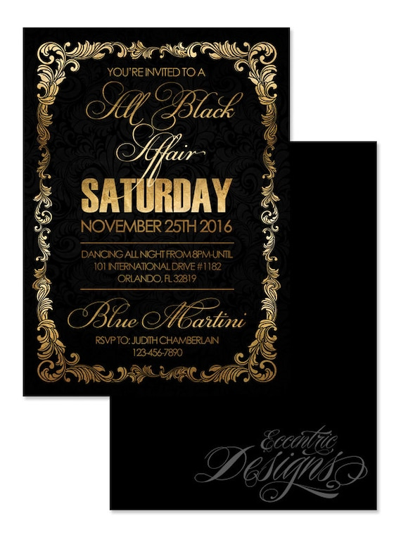5x7 All Black Affair Invitation You Print Foil