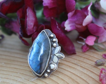 Labradorite silver ring/ something blue/ANOTHER MOONLIGHT SERENADE/blue flower sterling silver ring/blue silver ring/unique engagement ring
