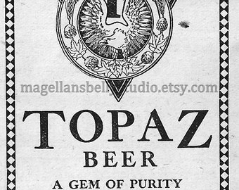 Topaz BEER Ad Instant Digital Download Antique Vintage Image Breweriana Brewery Bar Decor Man Cave Ephemera 1910  Fortune Brothers Brewing