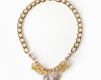 Fashion Statement Necklace made of Freshwater Pearls and Yellow Citrine Gems, Gold Metal Big Chain