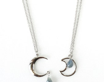Crescent Moon Charm with Genuine African Blue Sapphire Gemstone Necklace, September Birthstone Jewelry - ON SALE (WAS 38)