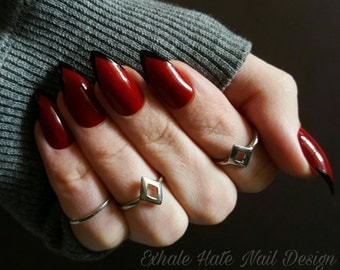 Dark Red with Black Deep V French - Fake Nails - Glue on Nails - Stiletto, Coffin, Square, Oval