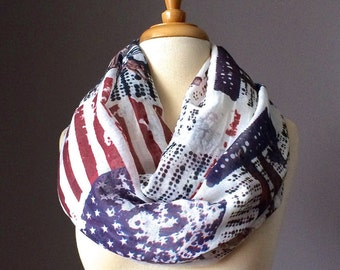 American Flag scarf, Patriotic infinity scarf, star scarf, 4th of July scarf, Independence day scarf, Navy, Red, Vintage print scarf