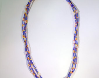 Blue Bugle Bead Multi-strand Necklace - N003