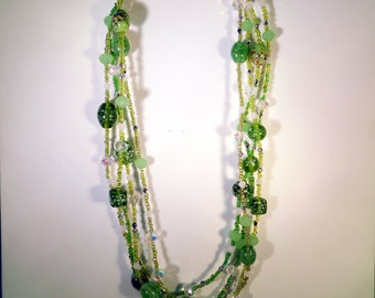 Green Glass Seed Bead Multi-strand Necklace - N011