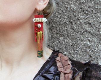 Cinnamon sticks earrings Extra long dangle earrings Aromatherapy jewelry Organic earrings Oversized earrings Trendy jewelry Leather earrings