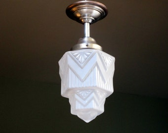 French Art Deco SKYSCRAPER Light Fixture 1930s White Molded Opaque Glass - Great for Smaller Spaces - Authentic Fittings and Shade