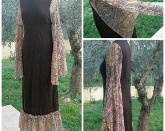 SALE-70's Brown Maxi Dress Colored Lace Sleeves and Hem, Boho, Gypsy, formal, prom dress, floral lace, Hippy, small, Greece
