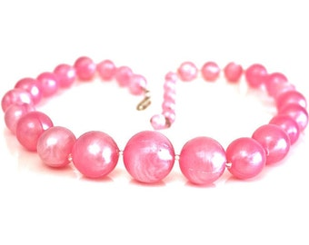 Pink Plastic Necklace ~ Vintage Chunky Pearly Bead Choker ~ Signed Western Germany