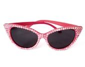 PRINCESS Pink Crystal Cat Eye Sunglasses - Retro Festival Sunglasses - Rhinestone Embellished Kawaii Sunnies - Sparkly Pink Diamante Glasses