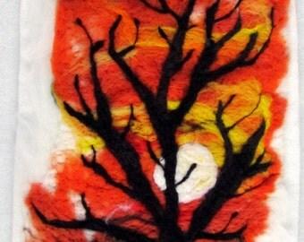 Irish Needle/Wet Felt Painting by Corina Hogan - African Sunset Colours - OOAK