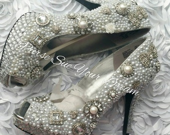 Custom Pearl and Swarovski Crystal Rhinstone Heel Shoes - Bridal Custom Shoes - Bride Wedding Heel Shoes - Wedding Shoes - Pearls and Lace