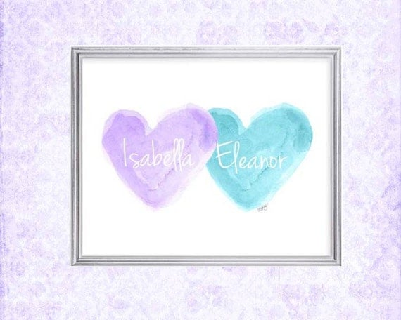 Lavender and Turquoise Girls Decor, 8x10 Personalized Sisters Print