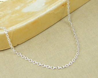 36 Inch Silver Chain Necklace, Long Silver Chain, Small Link Silver Plated Cable Chain Necklace |CH1-S36