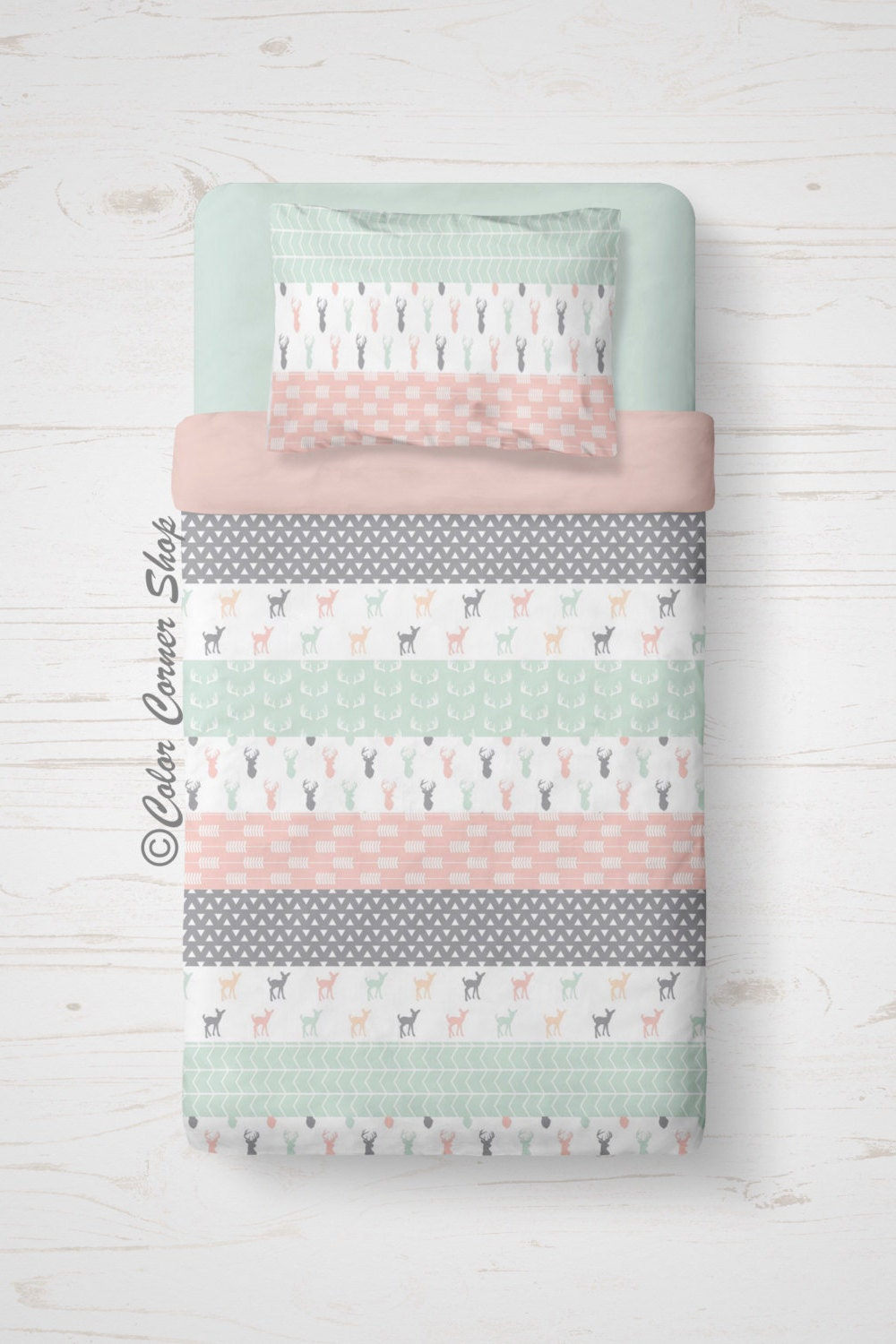 Pink Twin Tails Cartoon Pants Candy Stripper X Amoyamo: Pink Mint Fawn Twin Bedding Patchwork Quilt Twin Comforter