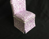 Parsons Chair in Lavendar w White Swirls and Birds - Dollhouse Miniature
