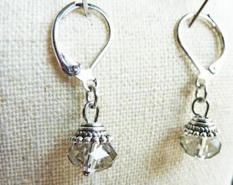 Smoky Grey Crystal Antique Earrings