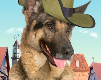 Funny German Shepherd Dog Blank Greeting card with Soldier Hat