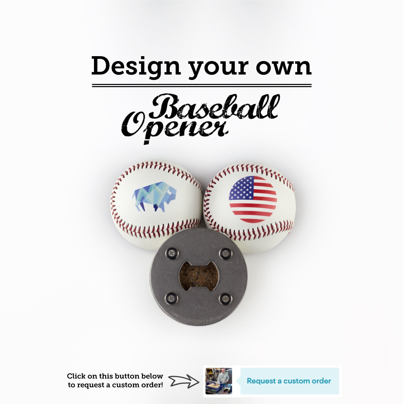 the baseballopener custom a bottle opener made from a real. Black Bedroom Furniture Sets. Home Design Ideas