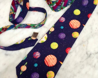 Vintage Men's Neck Tie solar system saturn galaxy space cosmic planet astronomy Flax Blue