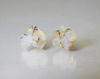 Raw Opal Stud Earrings, Genuine Ethiopian Welo Opal Stud Earrings, Opal Earrings, October Birthstone, Gift Ideas