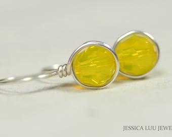 Yellow Swarovski Crystal Earrings Wire Wrapped Jewelry Swarovski Crystal Jewelry Sterling Silver Earrings Bright Yellow Earrings