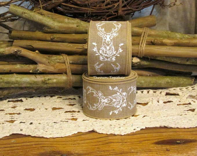 Natural Tan & White Wired Deer Ribbon, Hunting Ribbon, Rustic Fall Ribbon, 5YDS Wired Ribbon, 2.5wide Craft Ribbon, Natural Tan Ribbon