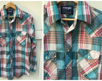 Vintage Wrangler Cowboy Cut Plaid Western Pearl Snap Shirt // Men's Size Large (16-34)