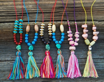 Boho girls tassel necklaces, colorful tassel necklace