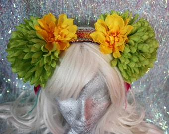 Green and yellow pompom flower fascinator headdress - fairylove