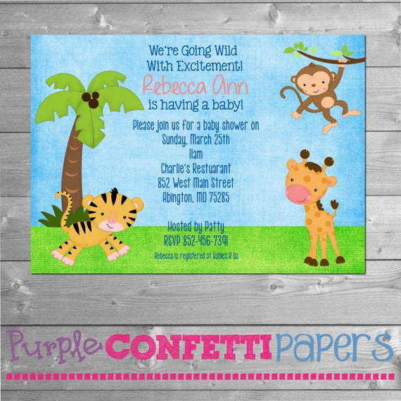 animal baby shower invitation, zoo, safari, monkey baby shower, Baby shower invitation