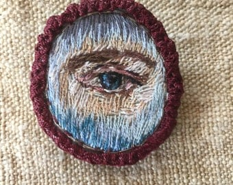Lovers Eye Portrait Silk Thread Painting Hand Embroidery Brooch  Antique Style Needlework Regency Victorian Momento Mori