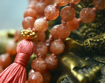 108 Mala Beads Sunstone Prayer Beads Meditation Tassel Necklace Yoga Jewelry Knotted Gemstone Mala 108 Buddhist Rosary Spiritual Jewelry