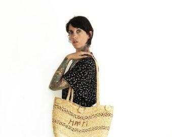 70s vintage woven straw haiti hippie tote bag// woven market bag// vintage straw bag
