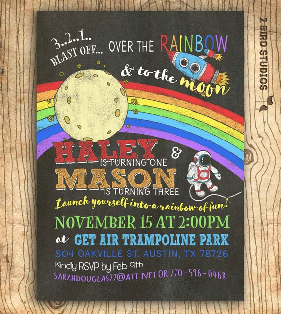 Rainbow Outer space party invitation sibling birthday – Space Party Invitation