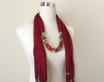 red jewelry scarf - gift or for you