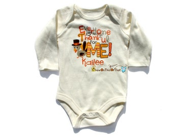Baby's First Thanksgiving Statement Shirt - Everyone's Thankful For Me Onesie, Bodysuit, Top, Shirt