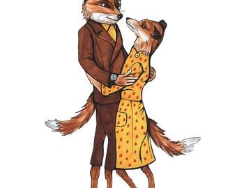Mr. and Mrs. Fox, Fantastic Mr. Fox - PRINT of an original drawing
