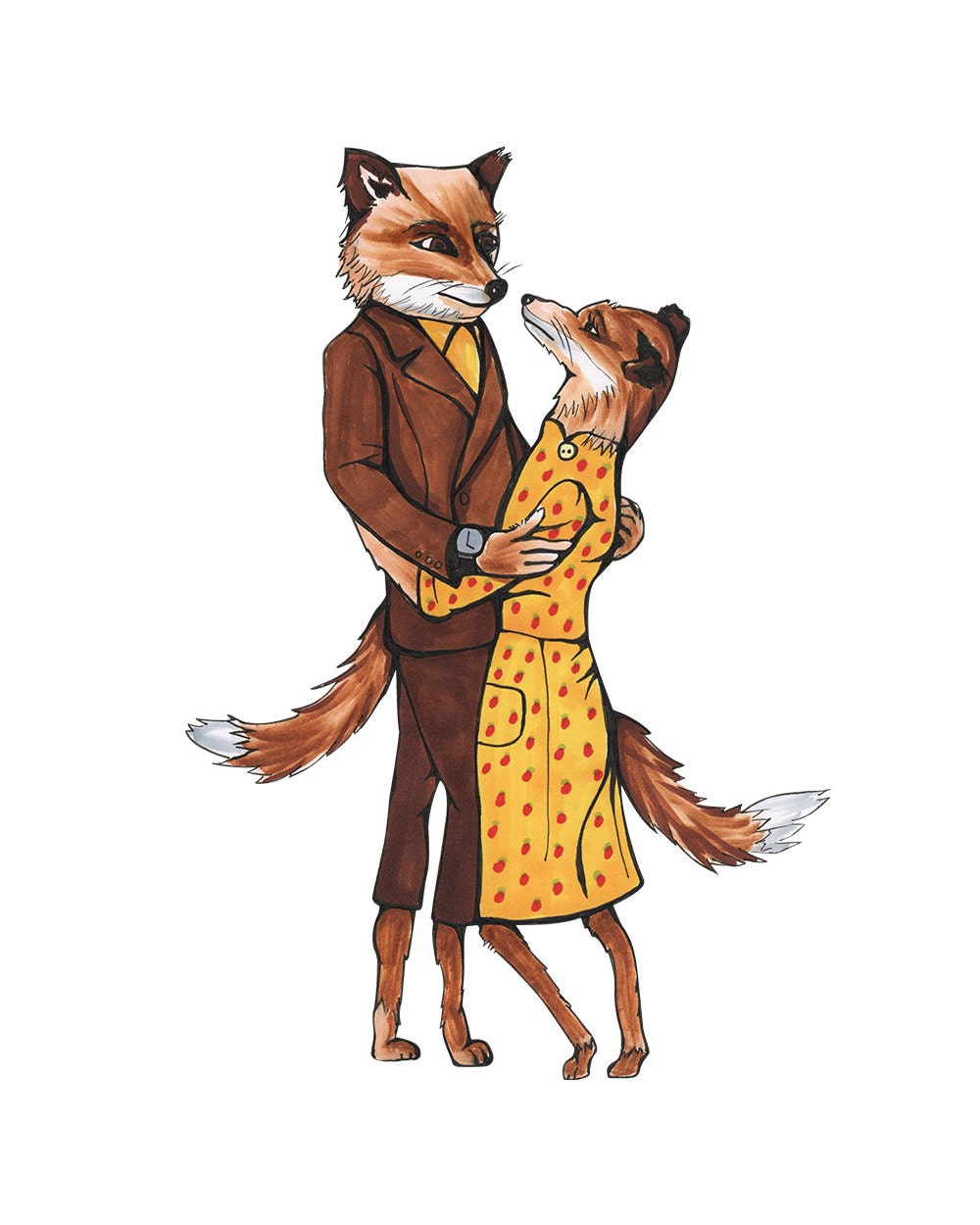 mr and mrs fox fantastic mr fox print of an original. Black Bedroom Furniture Sets. Home Design Ideas