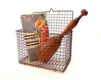 Vintage Industrial Wire Basket - Wall Basket - Farmhouse Country Decor - Kitchen Basket - Wall Bin General Store