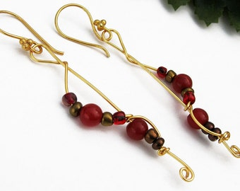 Dangle Earrings, Red Jade, Semi Precious Stones, Gold Plated Wire, Glass Beads, Handmade, Elegant, Gift, Mystical Attributes, Bright Reds