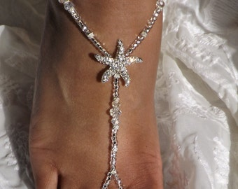 Crystal Rhinestone Starfish Foot Jewelry Wedding Starfish Barefoot Sandal Bridesmaid Gift Starfish Jewelry
