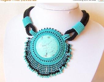 15% SALE Bead Embroidery Necklace Pendant Beadwork Necklace with Turquoise - TURQUOISE LIFE - turquoise - black