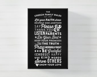 Custom Family Rules Printable Poster Sign- 20 x 30