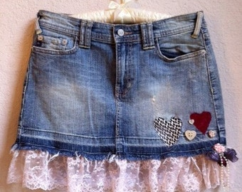 Jean Skirt With Lace. Roses And Hearts